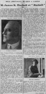 Gala Shakespeare, article paru dans Comœdia, 4 juin 1921